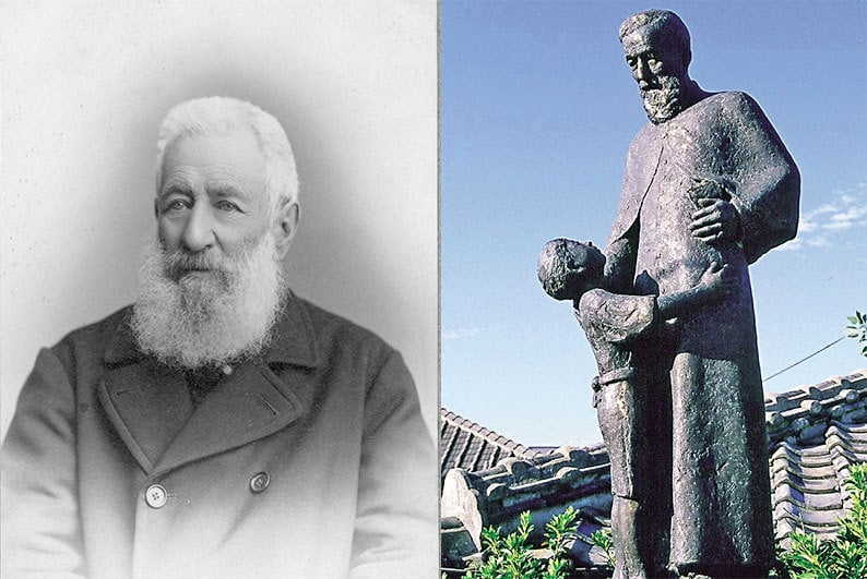 Father de Rotz in late life and Statue